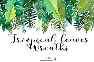 Tropical leaves wreaths clip art