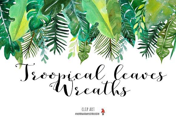 Tropical Leaves Wreaths Clip Art