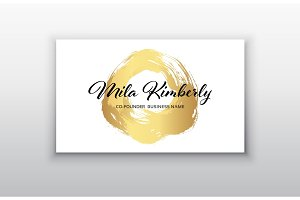 Vector gold business card templates with brush stroke background.