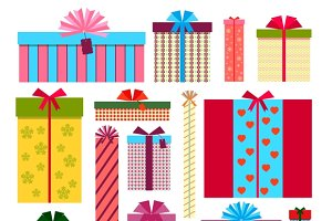 Gift boxes: icons, stack & patterns