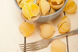 Italian lumaconi snail pasta