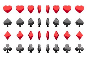 Animation of playing cards symbols