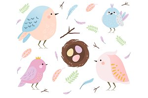Cute birds and feathers elements