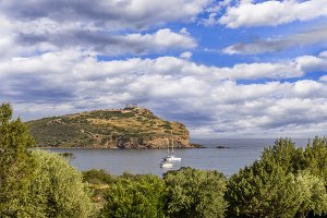 distant view on Temple of Poseidon at Cape Sounion