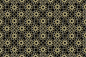 Vector illustration of seamless pattern with arabian ornament in golden style