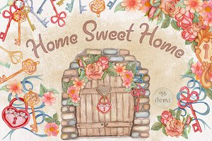 Home Sweet Home. Watercolor set