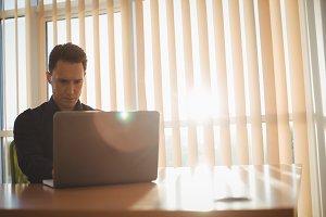 Male executive using laptop near window blinds