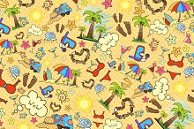 Illustration with summer symbols
