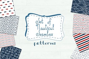 Set of 20 nautical seamless pattern