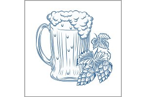 Stylized beer mug isolated on a white. Digital illustration.