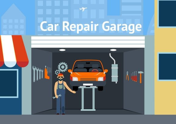 S & D Auto >> Cartooned Car Repair Garage ~ Illustrations ~ Creative Market