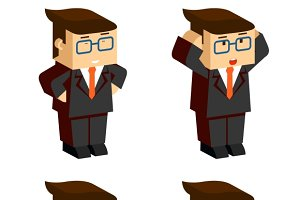businessman character emotions