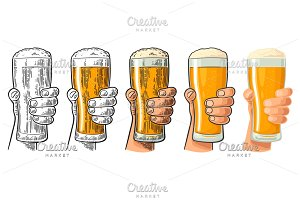 Man hand holding and clinking beer glass. Differents graphic styles