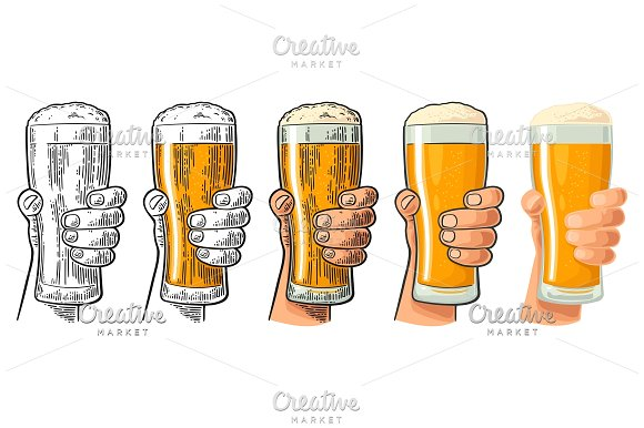 Man Hand Holding And Clinking Beer Glass Differents Graphic Styles