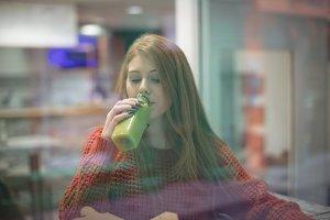 Woman drinking health drink