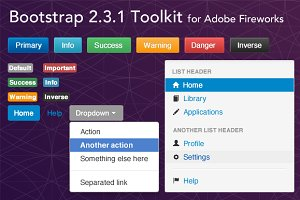 Bootstrap 2.3.1 Fireworks Toolkit