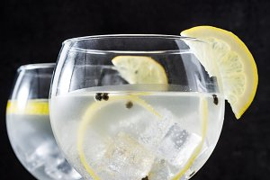 Glass of gin tonic