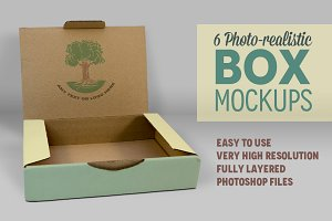 6 Photorealistic Box Mockups  V.3