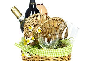 Bottles of wine and Picnic basket