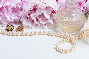 Wedding lifestyle with peony flowers
