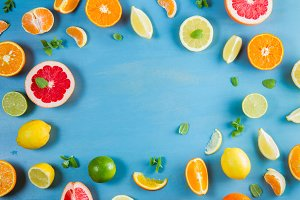 citrus pattern on blue