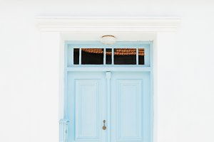 Traditional mediterranean blue door