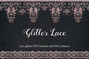 SALE! GLITTER LACE borders & clipart