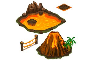 Vector set of lava pool, volcano, fence and cover