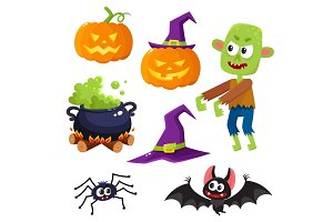 Halloween set - witch hat, caldron, pumpkin lantern, spider, bat, zombie