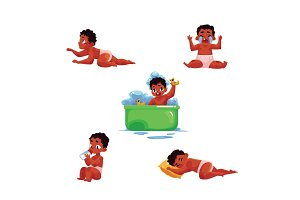 Black, African American baby kid, infant daily routine activities