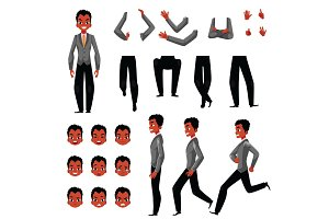 Black, African American man character creation set, different gestures, emotions