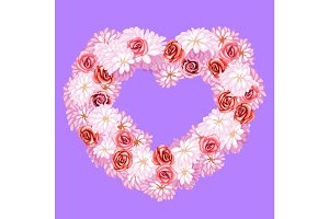 Flower wreath, heart shape