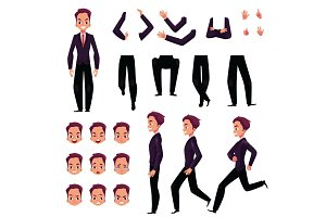 Businessman, man character creation set with different poses, gestures, faces