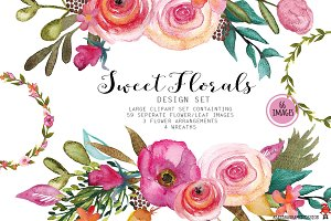 Floral watercolor clip art Sweet
