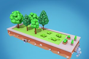 Cartoon Trees Low Poly 3D Model