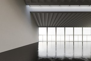 Photo of empty space hangar in modern building.Empty interior loft style with concrete floor,panoramic windows.Abstract background,blank walls. Ready for business info.Horizontal mockup.3d rendering