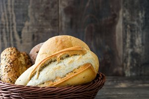 Mixed breads in a basket