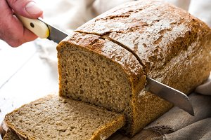 Cutting bread with a knife