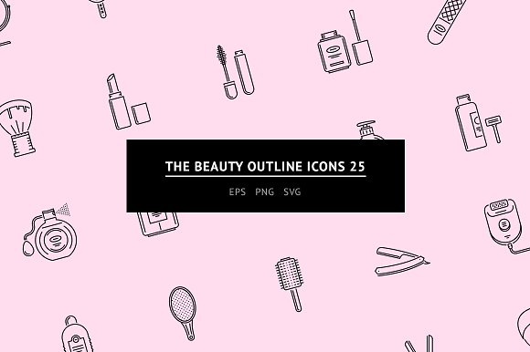 The Beauty Outline Icons 25