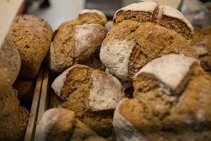Einkorn bread at the bakery counter