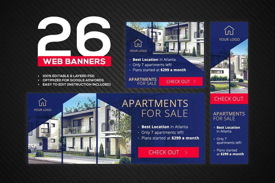 Banners Pack 26 Sizes For Google Ads Web Elements Creative Market