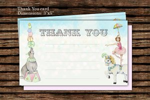 DIY Carnival Circus Thank you card