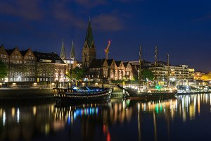 Cityscape of Bremen in a summer night