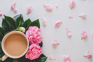 Tea, flowers and petals