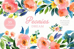 Peonies Dream Watercolor Clipart