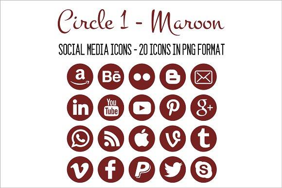 Social Media Icons Maroon