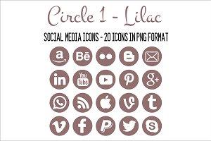 Social Media Icons - Lilac