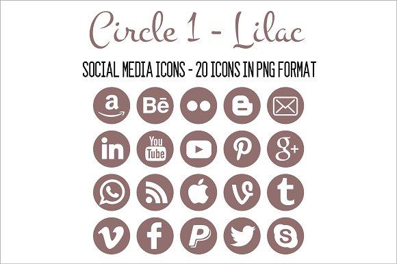 Social Media Icons Lilac