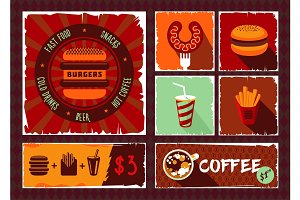Vintage fast food vector banner set