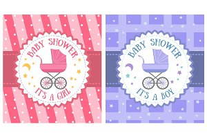 Baby shower party invitation template set